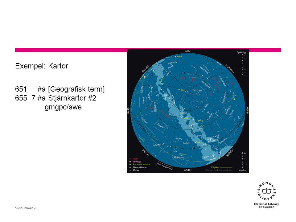 Exempel: Kartor 651 #a [Geografisk term] 655 7 #a Stjärnkartor #2 gmgpc/swe